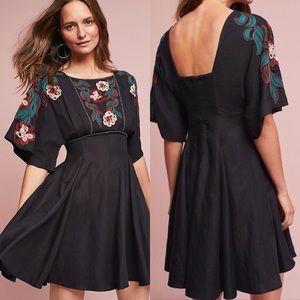 Anthropologie Priscilla Embroidered Black Dress